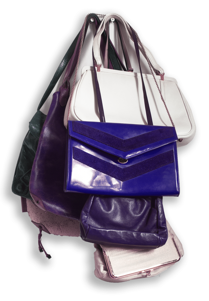 many-vintage-woman-handbags-purple