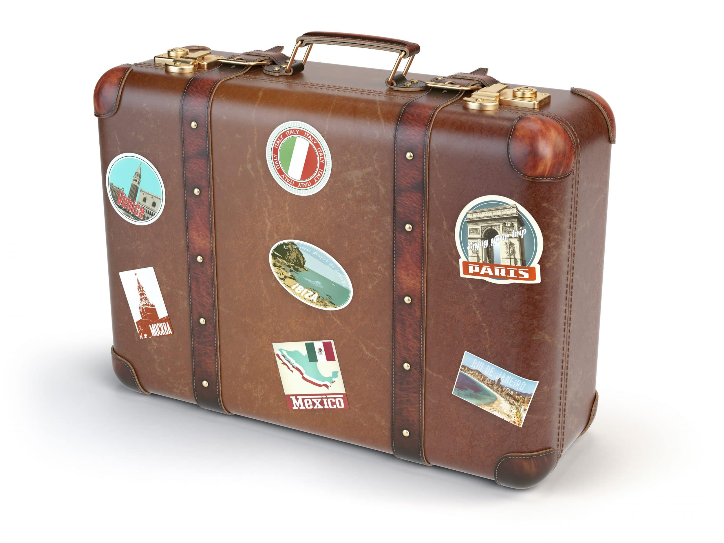 Retro suitcase baggage with travel stickers isolated on white background. 3d illustration